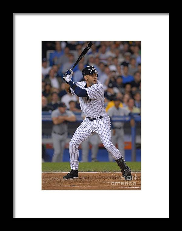 People Framed Print featuring the photograph Derek Jeter by Mark Cunningham