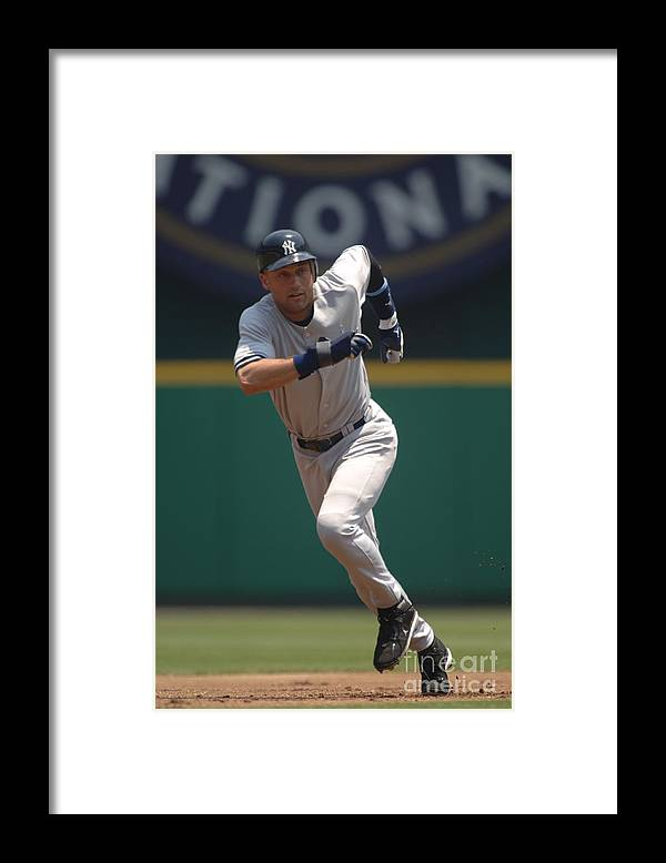 People Framed Print featuring the photograph Derek Jeter by Mitchell Layton