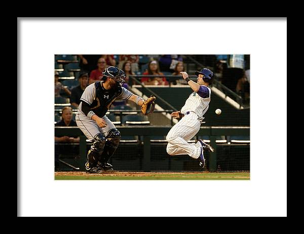 Baseball Catcher Framed Print featuring the photograph Derek Norris and Chris Owings by Christian Petersen