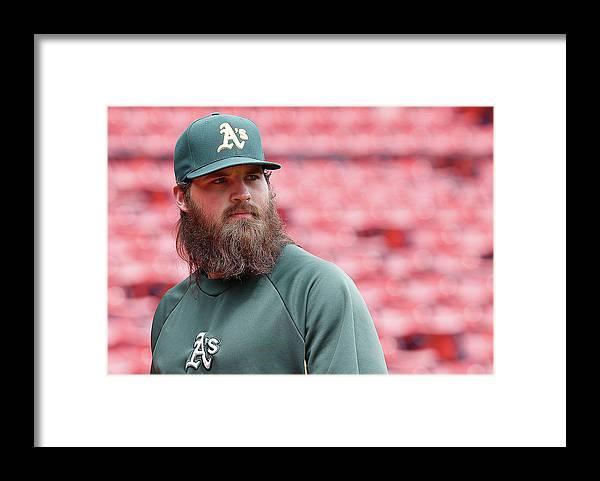 American League Baseball Framed Print featuring the photograph Derek Parks by Jim Rogash