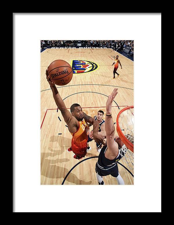 Nba Pro Basketball Framed Print featuring the photograph Derrick Favors by Garrett Ellwood
