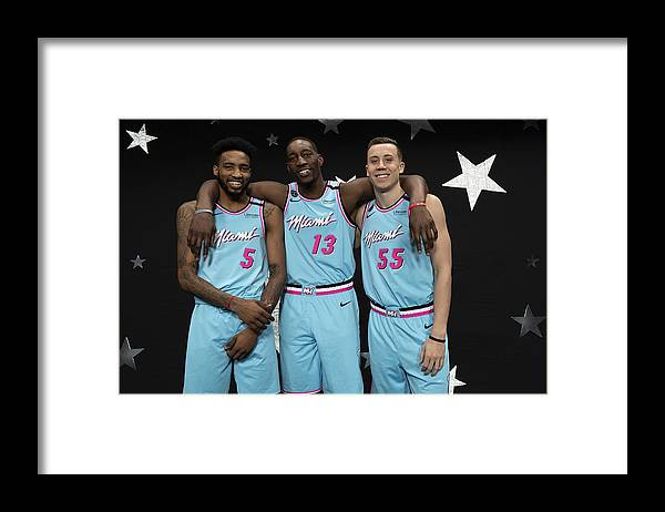 Nba Pro Basketball Framed Print featuring the photograph Derrick Jones and Bam Adebayo by Jesse D. Garrabrant