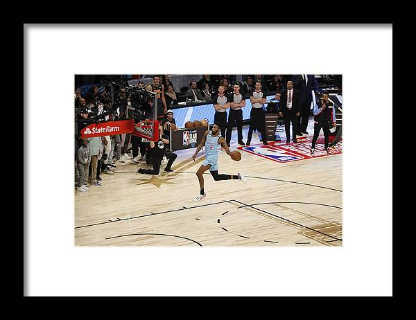 Nba Pro Basketball Framed Print featuring the photograph Derrick Jones by Jeff Haynes