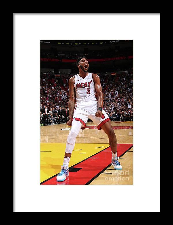 Nba Pro Basketball Framed Print featuring the photograph Derrick Jones by Oscar Baldizon