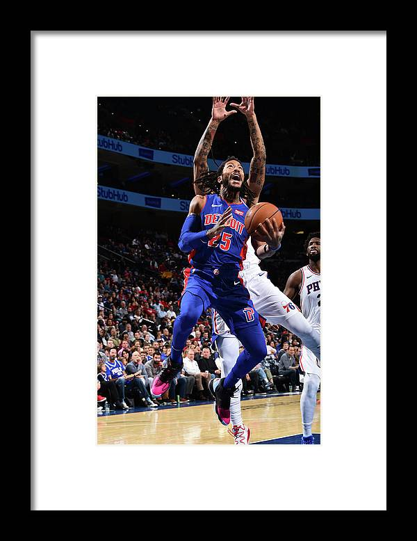 Nba Pro Basketball Framed Print featuring the photograph Derrick Rose and Joel Embiid by David Dow