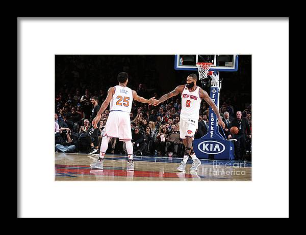 Nba Pro Basketball Framed Print featuring the photograph Derrick Rose and Kyle O'quinn by Nathaniel S. Butler