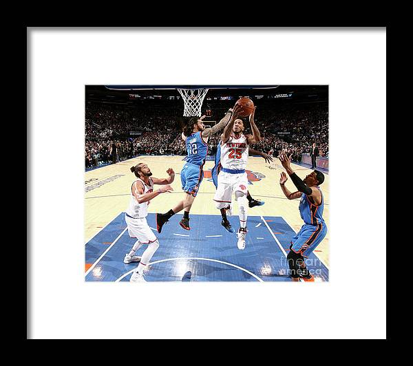 Nba Pro Basketball Framed Print featuring the photograph Derrick Rose and Steven Adams by Nathaniel S. Butler