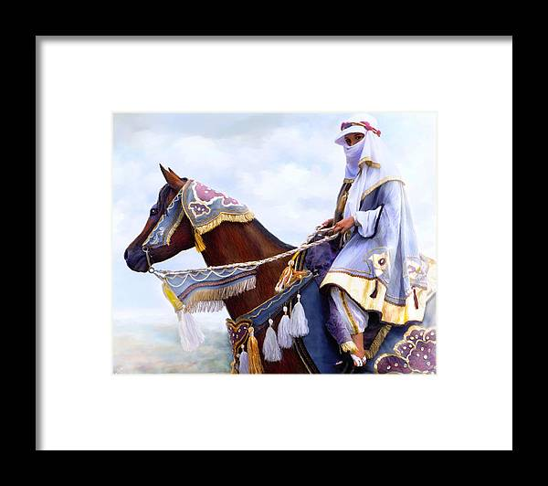 Horse Framed Print featuring the painting Desert Arabian Native Costume Horse And Girl Rider by Connie Moses