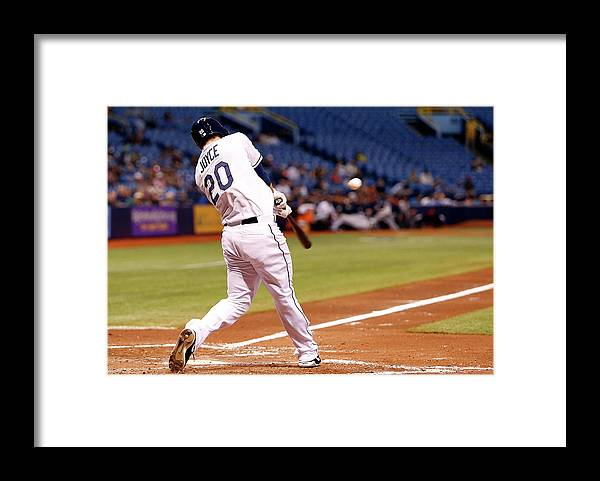 American League Baseball Framed Print featuring the photograph Desmond Jennings and Ben Zobrist by Brian Blanco