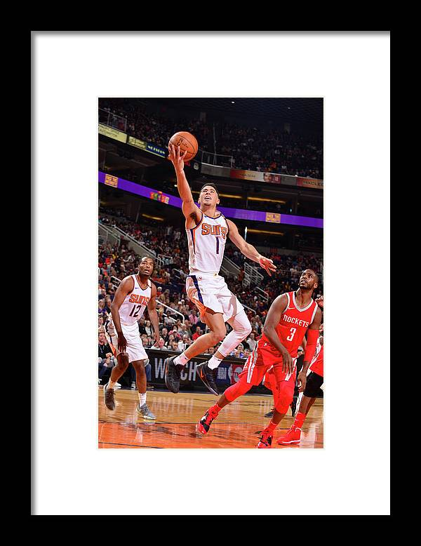 Nba Pro Basketball Framed Print featuring the photograph Devin Booker and Chris Paul by Barry Gossage