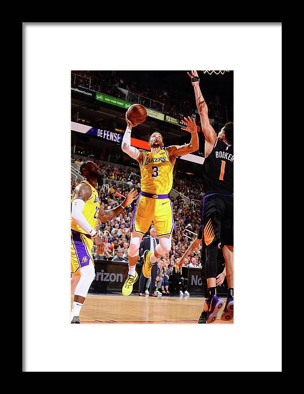 Nba Pro Basketball Framed Print featuring the photograph Devin Booker and Josh Hart by Barry Gossage