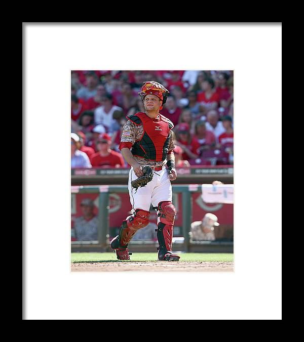 Great American Ball Park Framed Print featuring the photograph Devin Mesoraco by Andy Lyons