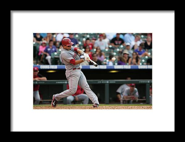 Ninth Inning Framed Print featuring the photograph Devin Mesoraco by Dustin Bradford
