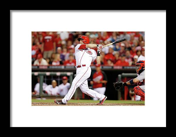 Great American Ball Park Framed Print featuring the photograph Devin Mesoraco by Joe Robbins