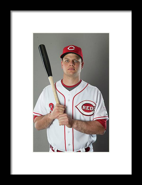American League Baseball Framed Print featuring the photograph Devin Mesoraco by Mike Mcginnis