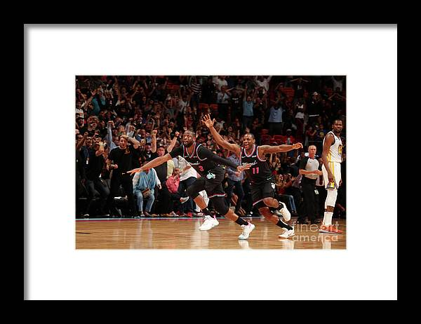 Nba Pro Basketball Framed Print featuring the photograph Dion Waiters and Dwyane Wade by Issac Baldizon