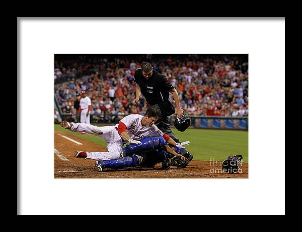 Dioner Navarro Framed Print featuring the photograph Dioner Navarro and Chase Utley by Brian Garfinkel