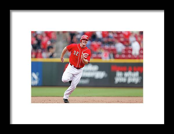 Dioner Navarro Framed Print featuring the photograph Dioner Navarro and Jay Bruce by Joe Robbins