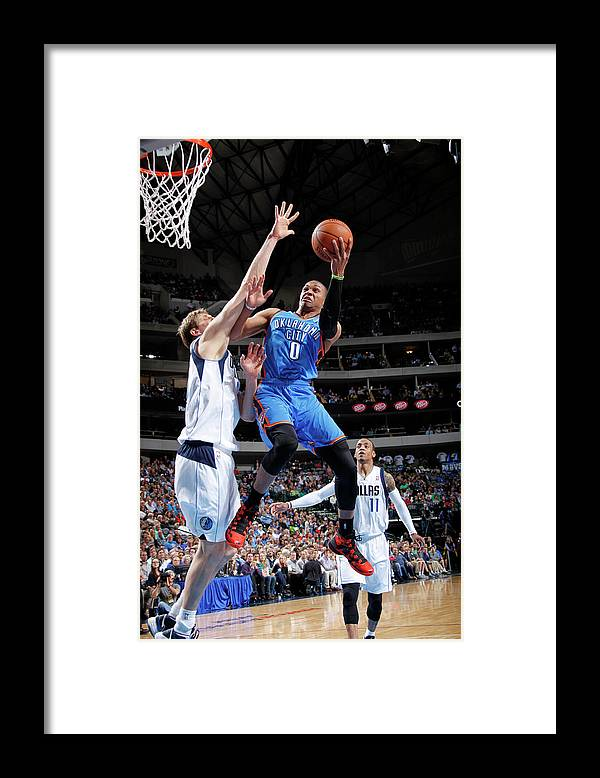 Nba Pro Basketball Framed Print featuring the photograph Dirk Nowitzki and Russell Westbrook by Glenn James