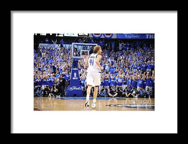 Playoffs Framed Print featuring the photograph Dirk Nowitzki by Garrett Ellwood