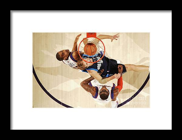 Nba Pro Basketball Framed Print featuring the photograph Dirk Nowitzki, Grant Hill, and Amar'e Stoudemire by Barry Gossage