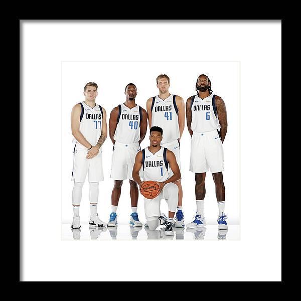 Media Day Framed Print featuring the photograph Dirk Nowitzki, Harrison Barnes, and Deandre Jordan by Glenn James