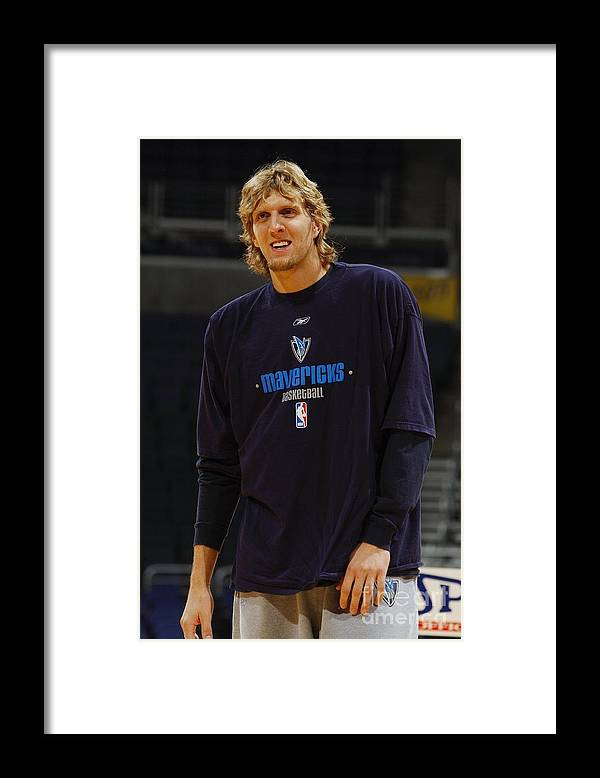 Nba Pro Basketball Framed Print featuring the photograph Dirk Nowitzki by Mitchell Layton