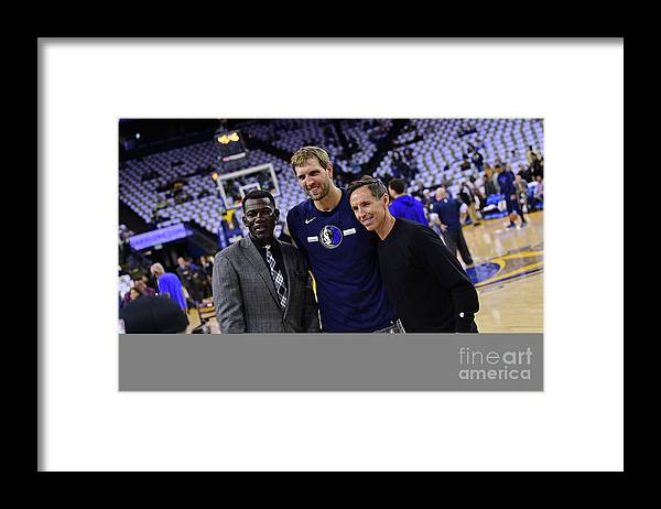 Nba Pro Basketball Framed Print featuring the photograph Dirk Nowitzki, Steve Nash, and Michael Finley by Noah Graham