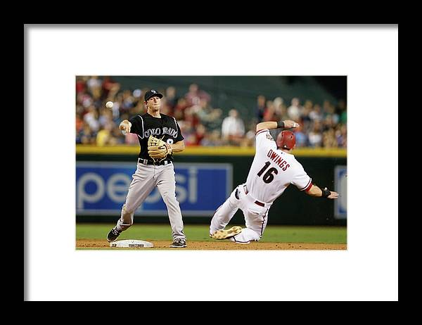 Double Play Framed Print featuring the photograph Dj Lemahieu and Chris Owings by Christian Petersen