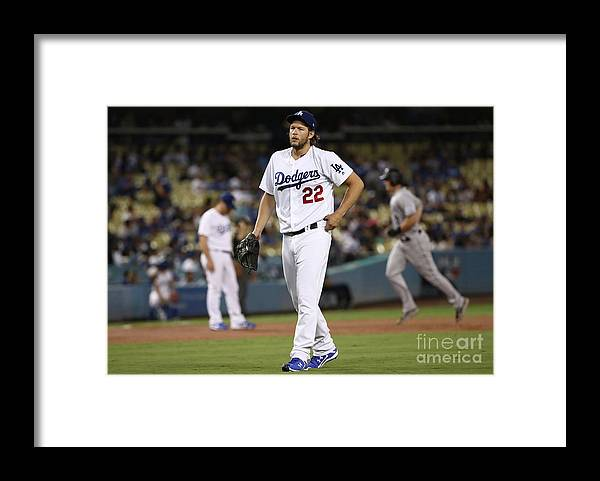 People Framed Print featuring the photograph Dj Lemahieu and Clayton Kershaw by Victor Decolongon