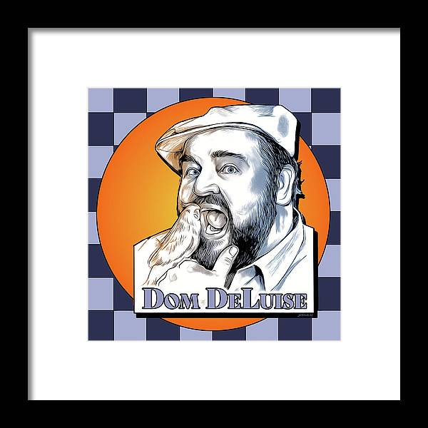 Dom Deluise Framed Print featuring the digital art Dom and the Bird by Greg Joens