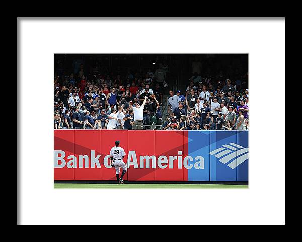 People Framed Print featuring the photograph Domingo Santana and Aaron Judge by Al Bello