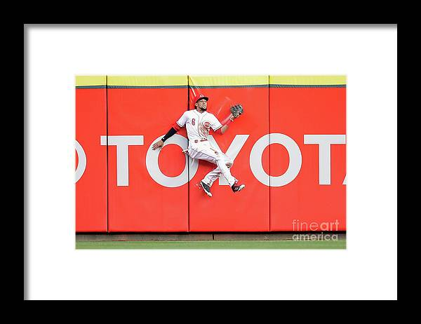 Great American Ball Park Framed Print featuring the photograph Domingo Santana, Ryan Braun, and Billy Hamilton by Andy Lyons