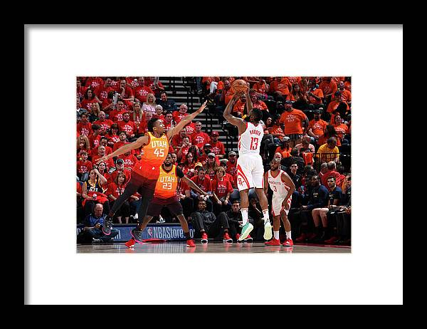 Playoffs Framed Print featuring the photograph Donovan Mitchell and James Harden by Andrew D. Bernstein