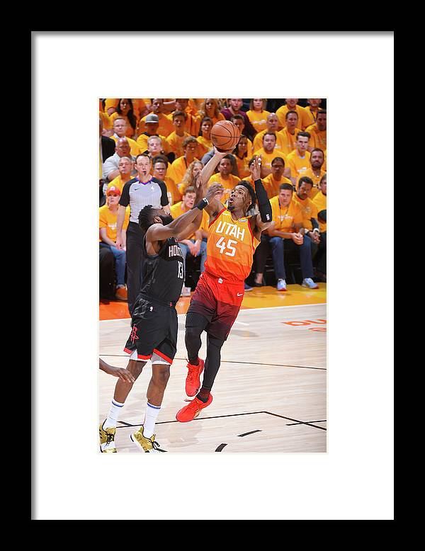 Playoffs Framed Print featuring the photograph Donovan Mitchell and James Harden by Bill Baptist