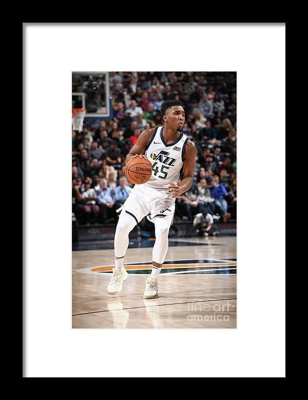 Nba Pro Basketball Framed Print featuring the photograph Donovan Mitchell by Garrett Ellwood