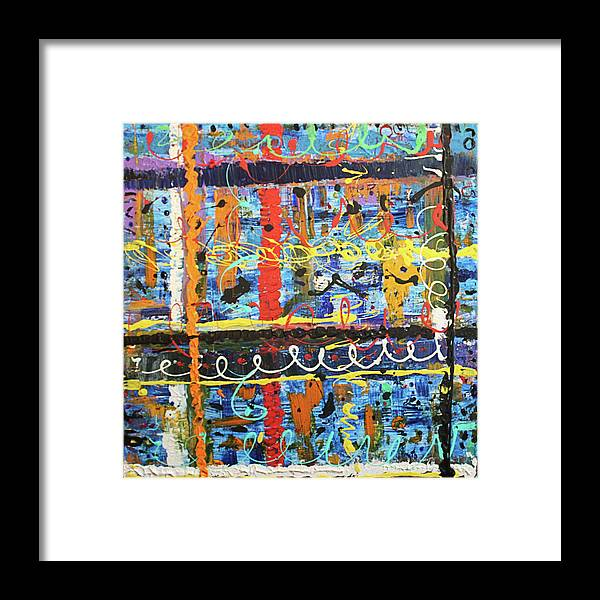 Orange Framed Print featuring the painting Don't Bother, They're Here by Pam Roth O'Mara