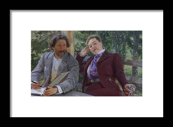 Ilya Repin Framed Print featuring the painting Double Portrait of Natalia Nordmann and Ilya Repin by Ilya Repin
