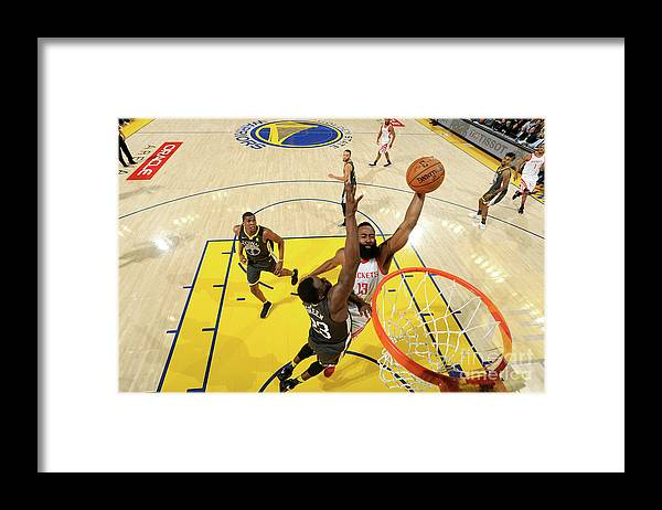 Playoffs Framed Print featuring the photograph Draymond Green and James Harden by Noah Graham