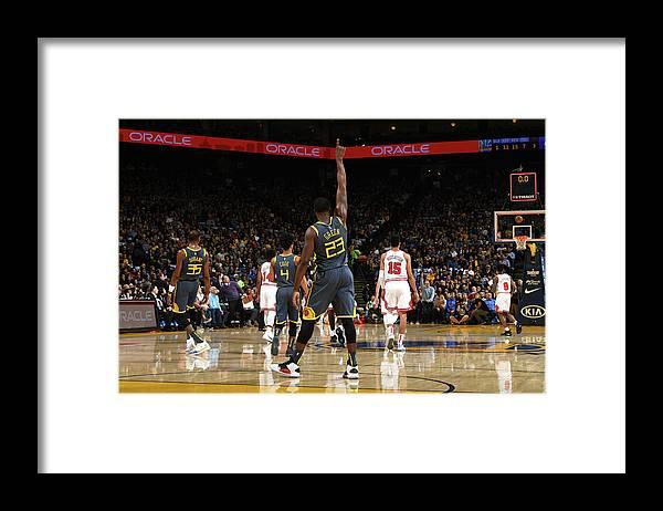 Nba Pro Basketball Framed Print featuring the photograph Draymond Green and Jonas Jerebko by Noah Graham