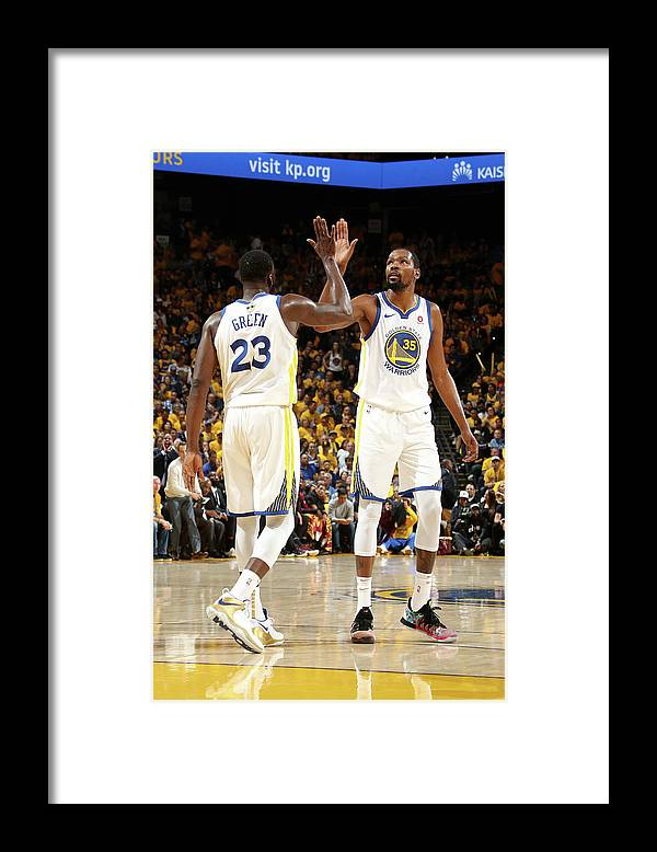 Playoffs Framed Print featuring the photograph Draymond Green and Kevin Durant by Nathaniel S. Butler