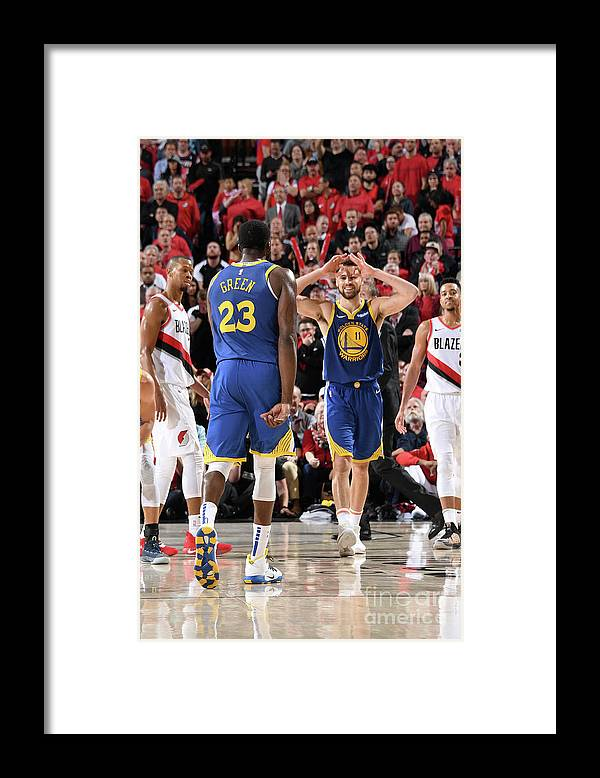 Nba Pro Basketball Framed Print featuring the photograph Draymond Green and Klay Thompson by Andrew D. Bernstein