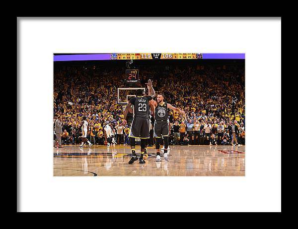 Playoffs Framed Print featuring the photograph Draymond Green and Stephen Curry by Noah Graham