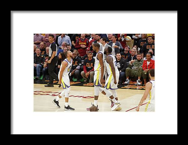 Playoffs Framed Print featuring the photograph Draymond Green, Stephen Curry, and Kevin Durant by Mark Blinch