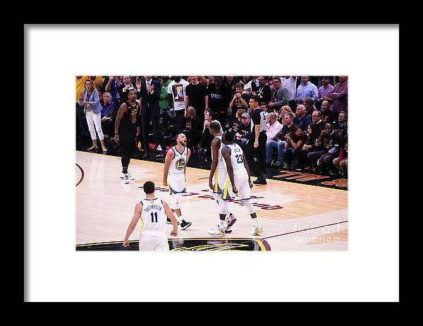 Playoffs Framed Print featuring the photograph Draymond Green, Stephen Curry, and Kevin Durant by Noah Graham