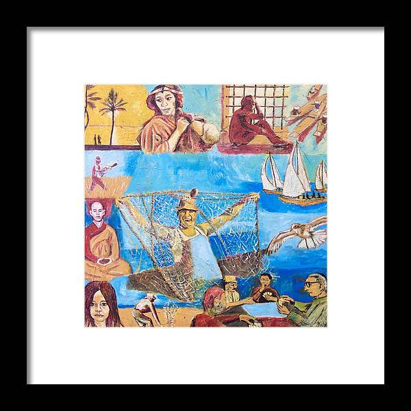 Fisherman With Net And Dreams And Thoughts About His Life Framed Print featuring the painting Dream of fisherman by Biagio Civale