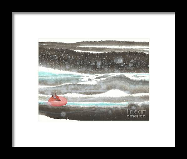 A Red Fox Asleep Dreaming Of Snowy Land. It's A Contemporary Chinese Brush Painting On Rice Paper. Framed Print featuring the painting Dreamland-I by Mui-Joo Wee