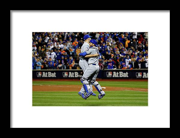 People Framed Print featuring the photograph Drew Butera and Wade Davis by Al Bello