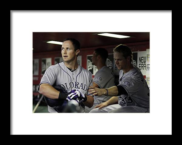 Ninth Inning Framed Print featuring the photograph Drew Stubbs and Justin Morneau by Christian Petersen