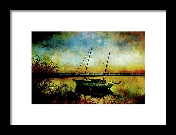 Yacht Framed Print featuring the digital art Drop Anchor at Sunset by Sarah Vernon